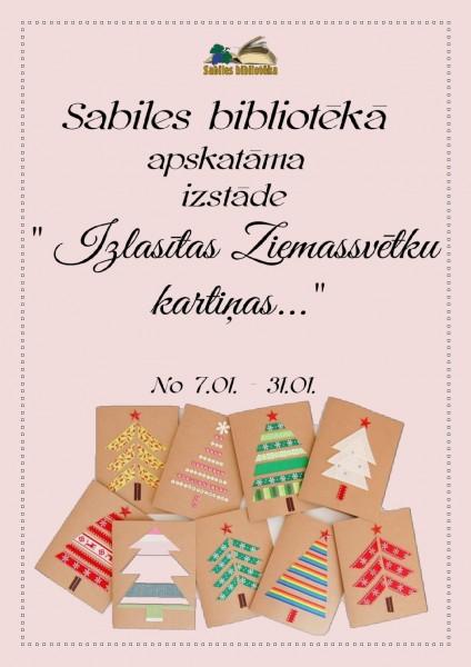 Sabiles bibliotēka_Izstāde_ Izlasītas Ziemassvētku kartiņas