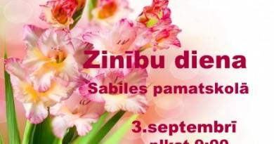 Zinību diena Sabiles pamatskolā 3. septembrī