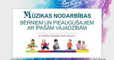 Sabilē būs mūzikas nodarbības bērniem un pieaugušajiem ar īpašām vajadzībām