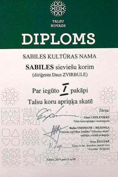 Diploms_Sabiles kultūras nama sieviešu koris_2019_aprīlis