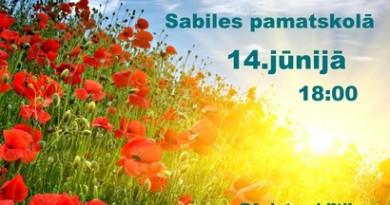 Izlaidums Sabiles pamatskolā 14. jūnijā plkst. 18.00